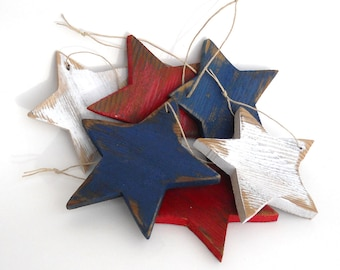 Rustic wood star ornaments, set of 6, /Patriotic/independence day decor/ red, white, blue FREE SHIPPING