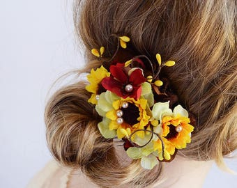 sunflower hair comb, red and yellow hair clip, sunflower hair piece, floral hair clip, yellow hair flower, sunflower wedding,country wedding