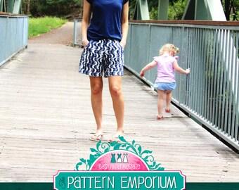 PATTERN Ladies Pleat Front Shorts - Hepburn Shorts - PDF Sewing Pattern - Instant Download - Pattern Emporium