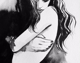 Original Watercolor Fashion Illustration - Bedroom Decor - Fashionista Wall Art - Black and White Painting - Gift For Him