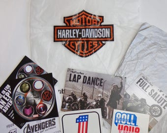 Harley Davidson Logo Stickers & Tissue Paper Shopping Bag Lot Destash, Scrapbooking, Upcycling, Collectors, Supplies