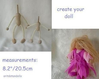 Wood and rope doll's structure, doll parts-craft your own doll- great for Waldorf dolls and fiber art artists