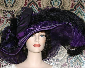 Kentucky Derby Hat, Del Mar Hat, Ascot Hat, EdwardianHat, Tea Party Hat, Downton Abbey Hat, Red Hat Society, Purple Hat - Purple Sunset