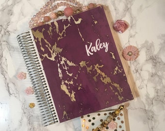 Planner Cover for Erin Condren, Happy Planner Cover, Recollections Planner, Pink, planner dashboard, A5 dashboard, marble, gold marble