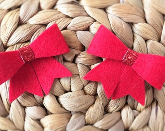 Felt Bow Hairclip Set - Red