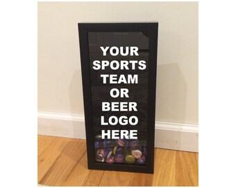 "Custom  Beer Cap Holder - Custom Design, Logo, Text, Phrase - Black Shadow Box (6"" x 14"") - Vinyl Decal Gifts, Home Bar Accessories"