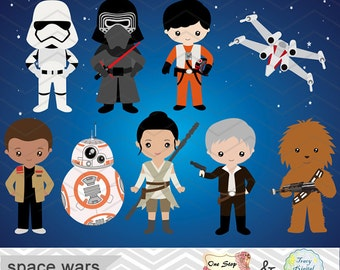Instant Download Star Wars Clipart, Digital Star Wars Clip Art, Digital Star Wars ClipArt, Star Wars Birthday Party, Star Wars Party 00227