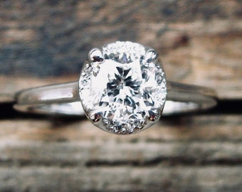 GIA Certified Diamond Engagement Ring in 14K White Gold with Diamonds in Scalloped Halo & Scrolls on Basket Size 6