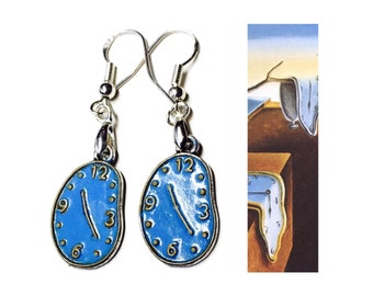Persistent Melting Clocks Earrings, Dali Inspired Hand Painted Alloy, 925 Silver Wires, Persistence of Memory Silver Blue Gold