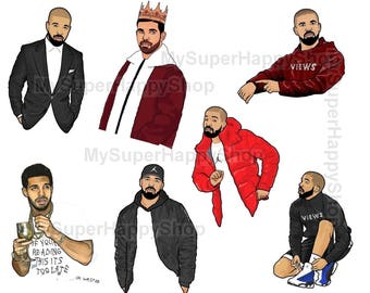 7 Drake stickers - funny drake faces - celebrity stickers - hotline bling - drizzy sticker, drizzy sticker