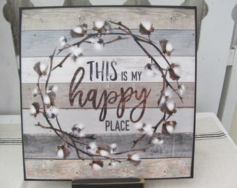This Is My Happy Place,Cotton Wreath Art Plaque,12x12,Wooden Art Plaque,Marla Rae