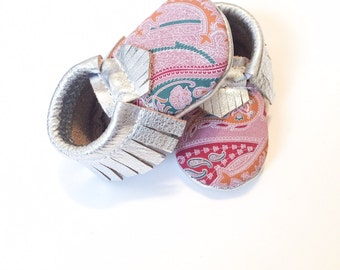 Baby Moccasins, Paisley Pink + Metallic Silver