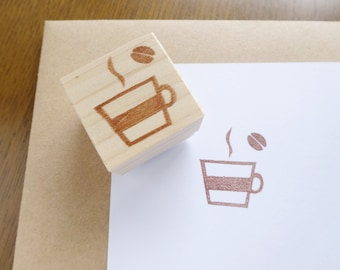 Lovely coffee stamp, Coffee lover, Cafe stamp, Coffee bean, Hobonichi stamp, Making card stamp, Japanese stationery, Handmade stamp