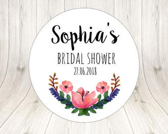 30 Bridal Shower Wedding Stickers Custom Personalized Bridal Stickers Round Floral Wedding Stickers Gift Wedding Favor Stickers