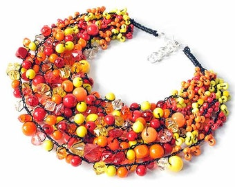 kama4you 2616 multicolor necklace crocheted