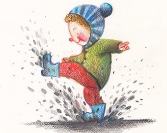 Puddles in winter- ORIGINAL ILLUSTRATION -Children decor / kids art /  Primitive Drawing Original Art -Happy kids - blue red green