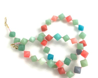 Rainbow Beaded Necklace Polymer Clay Pastel Colors BiCone Beads