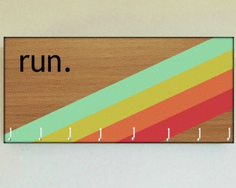 "Race Medal Holder /  Race Medal Hanger. ""run."" Rainbow Wood Wall Mounted Wood Organizer. CUSTOMIZATION Available"