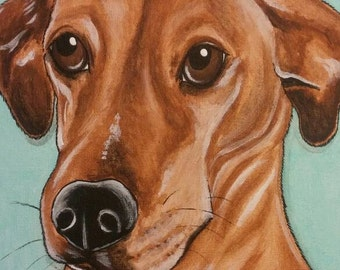 CUSTOM Painted Pet Portrait 11x14 Dog, cat, Painting pet lover, pet memorial, pet loss, gift