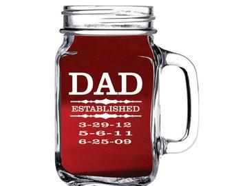Mason Jar, Mugs, Father Day, Birthday,Christmas , Personalized Mason Jar, Engraved Mason Jar, Etched Mason Jar