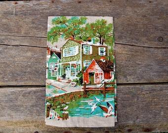 Vintage Village Burlap Tea Towel ~ 1960s Cottage Lake Cabin Decor, Woodland Gift