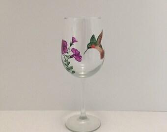 Hand Painted Wine Glass, Hummingbird, Ruby Throat Hummingbird