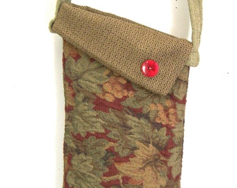 Long Tote Leaf Design Fabric Hip Bag Red Diamond Cross body Bag Recycled Handbag Small Tote Gift Ideas Hobo Bags Modern Tote gift for her
