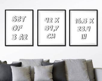 SET of 3 A2, Larger print sizes for my artworks - A2: 420 x 594 mm = 16.5 x 23.4 in
