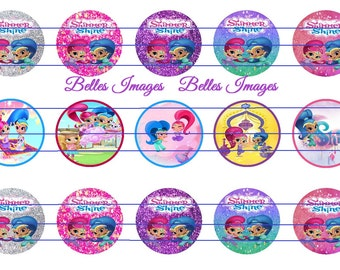 Shimmer Shine Bottle Cap Images, Cupcake Toppers, Shimmer n Shine Decor, Crafts, 1 Inch Circles, Birthday Decor, Genie Party Decor