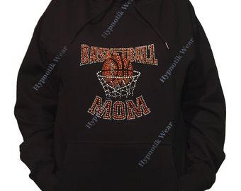 "Rhinestone Women's Pullover Hoodie "" Basketball Mom "" Sweatshirt Sm to 3X"