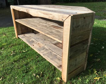 A Rustic Hand Made TV Stand Made From Recyced Pallet Wood
