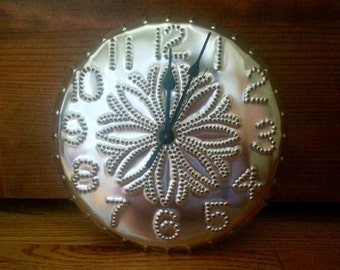 Tin Punch Clock 8-Point Design Silver Tin Metal 10 Inch By Larry West