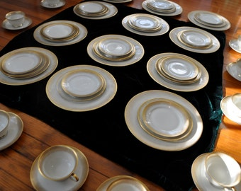 HOLD FOR JASON 56 Pieces Rosenthal Porcelain Dinnerware/Setting For 12/Vintage 1960s/Aida Stardust Pattern/Fine German China/Cream and Gold