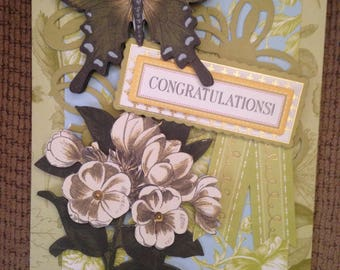 Congratulations Card/Handmade/3D/Floral/Green Vintage Cardstock with White Vintage Flower Die Cut/Butterfly/Congratulations Greeting