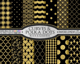 Black and Gold Digital Paper: Black and Gold Paper, Printable Black and Gold Scrapbook Paper, Gold Black Digital Paper Scrapbook Download