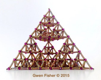 Third Generation Sierpinski Tetrahedron VIII -- Beaded Art Object Sculpture