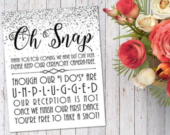 Printable Unplugged Ceremony Sign - Silver Wedding Decorations - No Cellphone Sign - Silver Glitter Ceremony Decor - Unplugged Wedding Sign