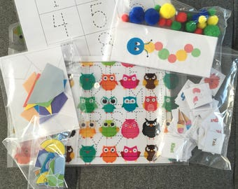 3 - 6 year old. Busy book. Busy bag. Winter activity. Learning kit. Preschool activity. Learning and having fun.Toddler learning folder