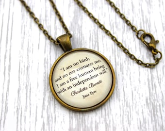 Jane Eyre, 'I Am No Bird', Charlotte Brontë Quote Necklace or Keychain, Keyring.