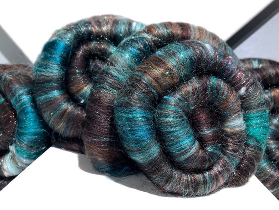 """Brown Teal rolags: """"Mint Chocolate"""" spinning, felting fiber art rolags, DIY Gift, nuno felting, mini batts, teal turquoise brown copper, RTS"""