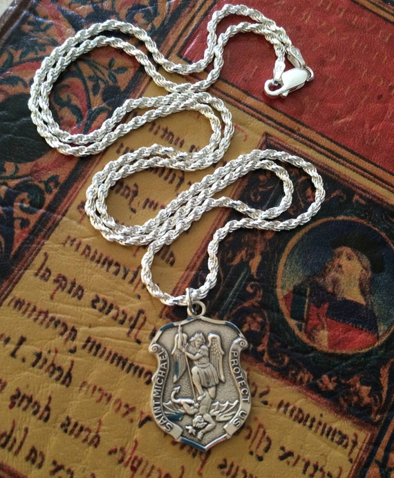 Sterling st michael necklace medal mens police officer badge like this item aloadofball Gallery