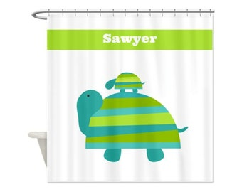 Turtle Mama & Baby Personalized Kids' Shower Curtain - Perfect For Boys, Girls,