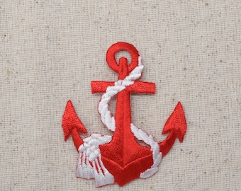 Nautical - Red Anchor - White Rope - Iron on Applique - Embroidered Patch - 695647