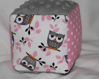 Pink and Gray Owls Minky Block Rattle Toy