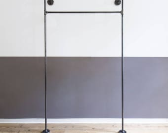 clothing rack - open wardrobe - steel pipe - coat stand - clothes rack - clothes rail - 1x - MONO HIGH - black galvanized