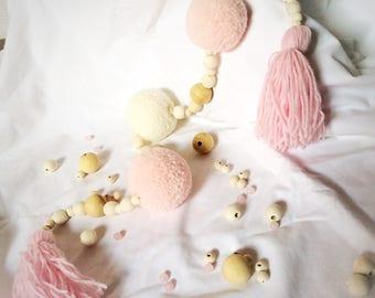 "Garland ""seen"" romantic - Bohemian - tassel - tassel - pastel - ecru - pink - pink"