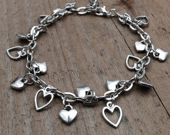 Heart charm bracelet, silver heart jewellery, adjustable heart chain bracelet, silver heart charm bracelet, gift for loved one, valentines