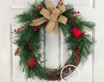 Woodland Wreath, Cardinal Wreath, Farmhouse Wreath, Red Green Wreath, Evergreen Wreath, Wreath Street Floral, Front Door Wreath, Pine Wreath