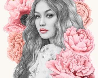 Gigi Hadid peony fashion illustration portrait