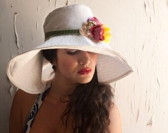 Women Sun Hat , Wide Brim Summer Hat , Floppy Beach Hat,  Handmade Hat